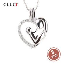 CLUCI 3pcs 925 Sterling Silver Pendant Pearl Locket Mother Loves Baby Women Pendant for Mom Silver 925 Mothers Day Gift SC259SB