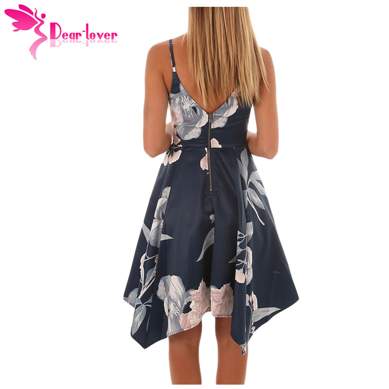 dbfcec75b6 Dear Lover New Boho Style Beach Sundress Navy Floral Print Spaghetti Strap  Asymmetric Hem Sway Dress 2018 vestidos verano 220258-in Dresses from  Women s ...