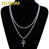 Xukim Jewelry Bling Gold Silver Color Gesus Cross Iced Out Hip Hop Tennis Chain Pendant Necklace Jewelry Gift Party