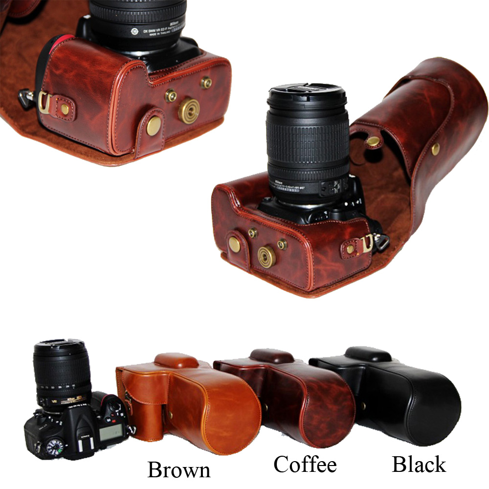 Vintage En Cuir PU Camera Case Sac Pour Nikon D5100 D5200 D5300 18-55mm 18-105mm objectif caméra Sac Café Noir Brun