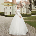 Long Sleeve Lace Corset Ball Gown Wedding Dresses Illusion Boat Neck Floor Length Factory Custom Made