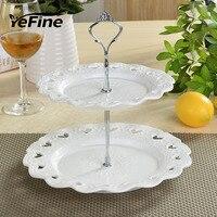 YeFine שכבות כפולות עוגה לעמוד מנות וצלחות קרמיקה פורצלן כלי שולחן צלחת קינוח צלחת חטיף תבליט בסגנון אירופאי