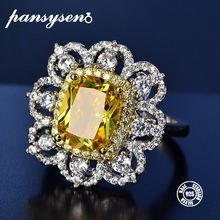 PANSYSEN NEW Fashion Real 925 Sterling Silver Jewelry Citrine Gemstone Rings For Women Wedding Engagement Fine Jewelry Ring недорого