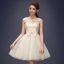Tül Dantel Kısa Gelinlik Modelleri Abiye Kız Güzel Kulübü Balo Parti Elbisesi Yay Kırmızı Şampanya