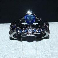 Choucong Claddagh In Possesso di Cuore di amore 5a Zircone Corona Wedding Ring Set 925 silver & Black colore dell'oro Monili Di Cristallo Blu regalo