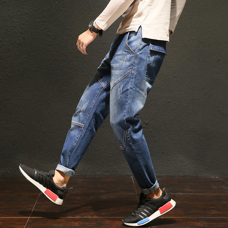 2018 Summer New Mens Cotton Fashion Personality Simple Stretch Loose Harlan Jeans Trousers Small Straight Leg Tide