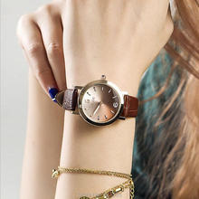 цена на 6 Colors New Arrival Hongkong Brand Women Gradient color Watches Austrian Crystal Real Leather Band Women Dress Watches