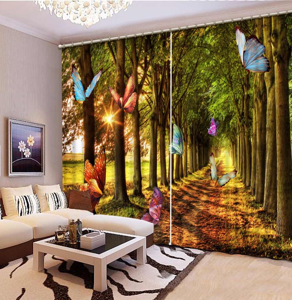 3D Curtain Sunshine Woods Colorful Butterfly Curtains For Bedroom Blackout Shade Window Curtains Fashion Customized