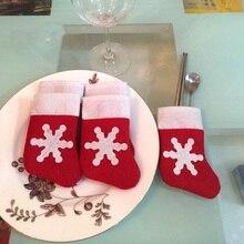 12Pcs/lot Mini Christmas Stockings Dinnerware Cover Xmas Tree Decorations Hanging Navidad Decorations New Year Party Supplies