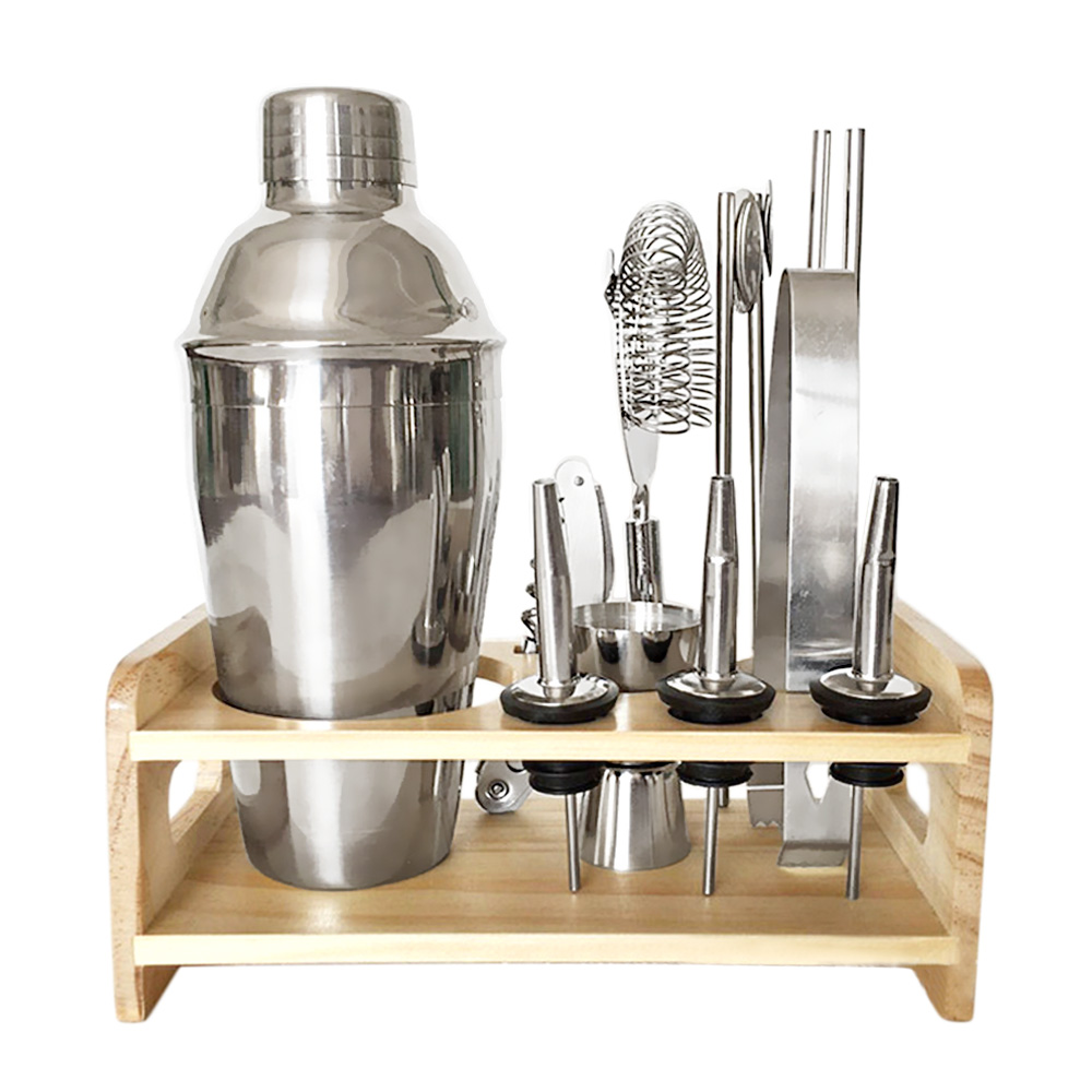 ราคา 12 Pcs Stainless Steel 550Ml Cocktail Shaker Set Jigger Mixing Spoon Tong Barware Bartender Tools With Wood Storage Stand For Bars Home Making Mixed Drinks Intl ออนไลน์ จีน
