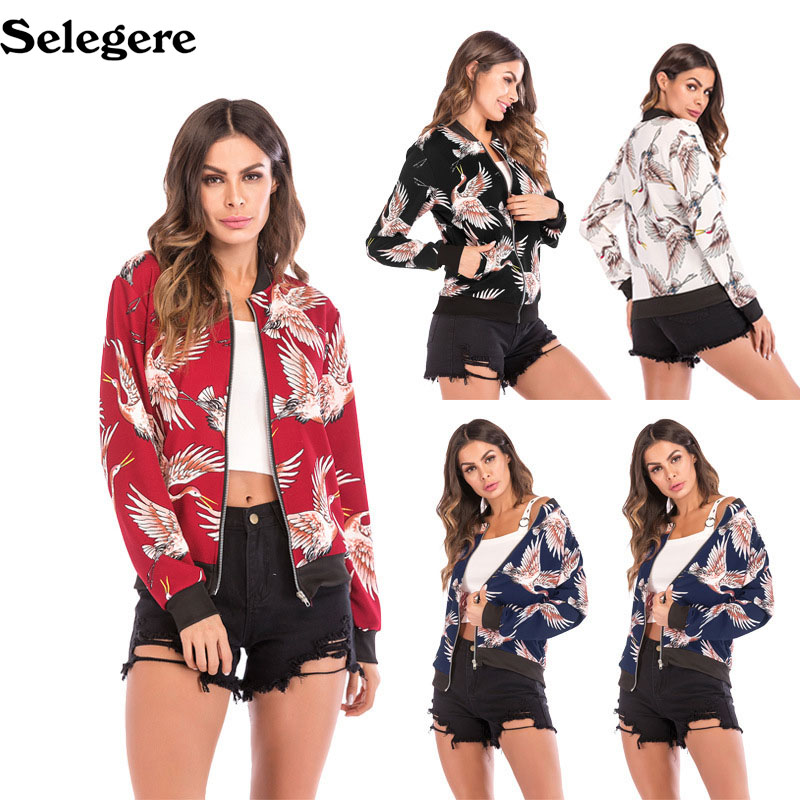 2018 Women Coat Fashion Ladies Retro Floral Zipper Up Flying crane print Jacket Casual Coat Autumn Outwear Women Clothes