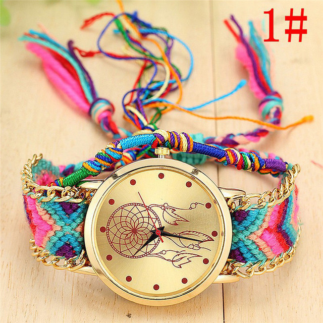 Handmade Ladies Vintage Dreamcatcher Friendship Watches Weaving bracelet Quartz