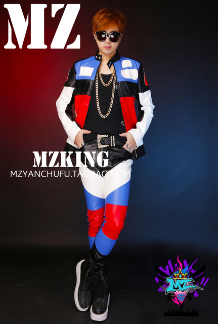 GD Bigbang Concert Style Men Singers Red White Blue Splice Leather Jacket Dancer DJ Show Coat Stage Dress Costumes ! S-5XL