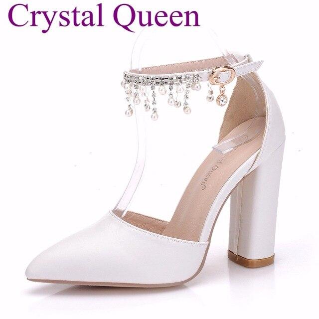 1b08cdcd8a6a88 Cristal reine perles gland sandales bout pointu escarpins robe fête  chaussures carré talons hauts sandales mariage