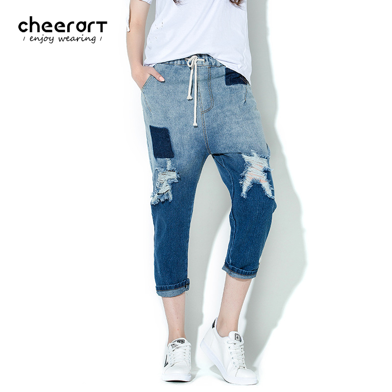 Cheerart Denim Harem Ripped Gradient Pants Summer Drawstring Jeans Women Low Elastic Waist Blue Hole Ankle-Length Pants new summer vintage women ripped hole jeans high waist floral embroidery loose fashion ankle length women denim jeans harem pants