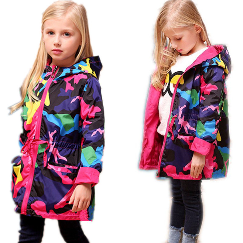 2018 Girls Clothes Girl Jackets Children Coat Kids Spring Outerwear teenager Camo Hooded Windbreaker Thin Waterproof Trench Coat