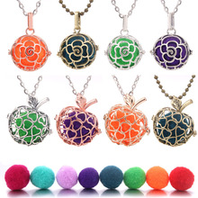 1pcs Aroma Diffuser Necklace Open Antique Vintage Lockets Pendant Perfume Essential Oil Aromatherapy Locket with Ball