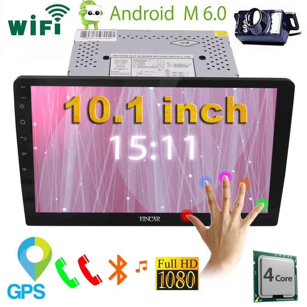 10.1'' Car Stereo Android 6.0 Quad Core 2 Din Head Unit In Dash Bluetooth Vehicle GPS Navigation Auto Radio automotive+Camera