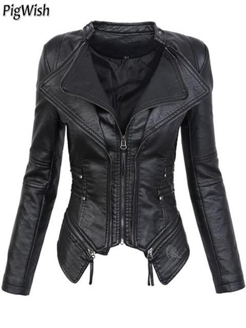 20a279794c8 2018 Autumn Women faux Leather Jacket Coats Black moto jacket Zippers Long  sleeve Goth Female PU Faux Leather Jackets