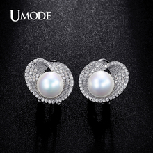 UMODE 2016 New 10mm Shell Powder Synthetic Pear Rhodium plated Stud Earrings Jewelry For Women Boucles D'oreilles AUE0189B