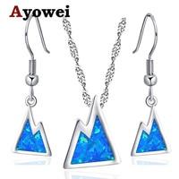 Ayowei la colina de La Joyería para Las Mujeres de la Marca Estampado azul Ópalo de Fuego de Plata 925 Pendientes con cadena OS029A