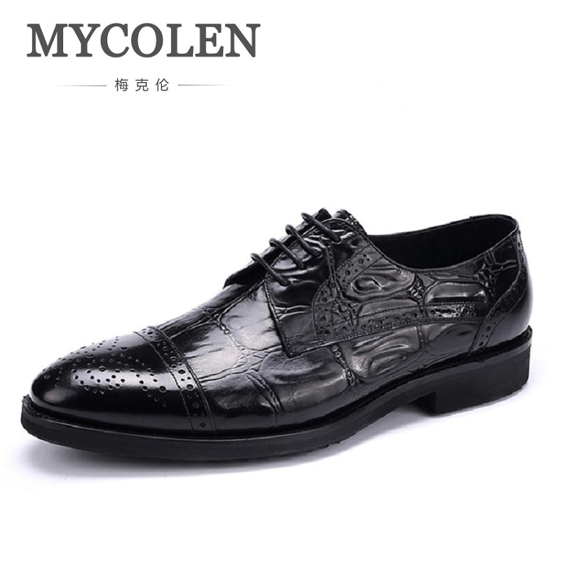 MYCOLEN Men Formal Shoes Leather Luxury Brand Pointed Toe Dress Footwear Male Office Italian Brogue Derby Shoes For Men 2017 new fashion italian designer formal mens dress shoes embossed leather luxury wedding shoes men loafers office for male