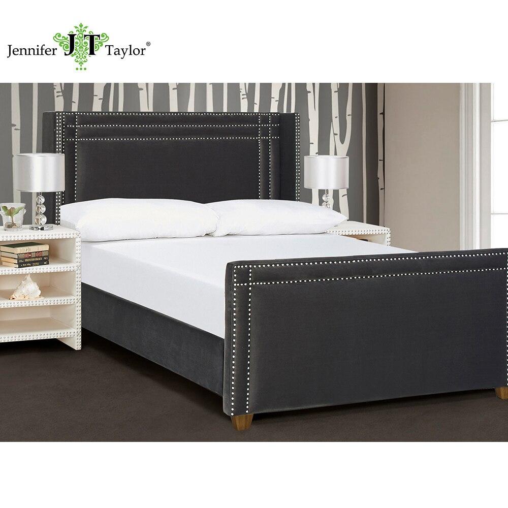 Jennifer Taylor Home, Upholstered Bed, Queen, Dark Charcoal Grey, Velvet, Hand-Applied Nail heads, 67W x 88D x 54H, 52070 dg home софа papa bear dark grey