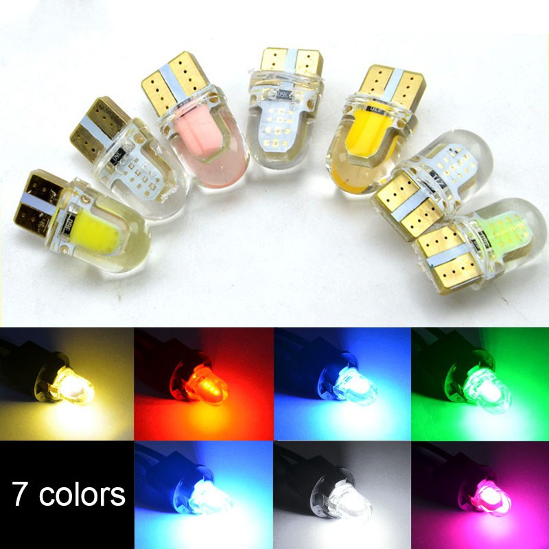 10Pcs Car Led Bulbs T10 194 168 W5W COB 8 SMD LED Silica Bright White License Light Bulb White Amber Purple Ice Blue Red 12V 4pcs super bright t10 w5w 194 168 2825 6 smd 3030 white led canbus error free bulbs for car license plate lights white 12v