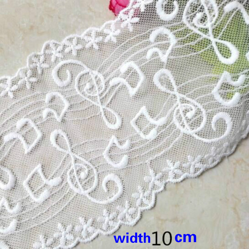 Music Note Lace Trim Water Soluble Lace Ribbon  Fabric For Sewing Bridal Wedding Dress Crafts