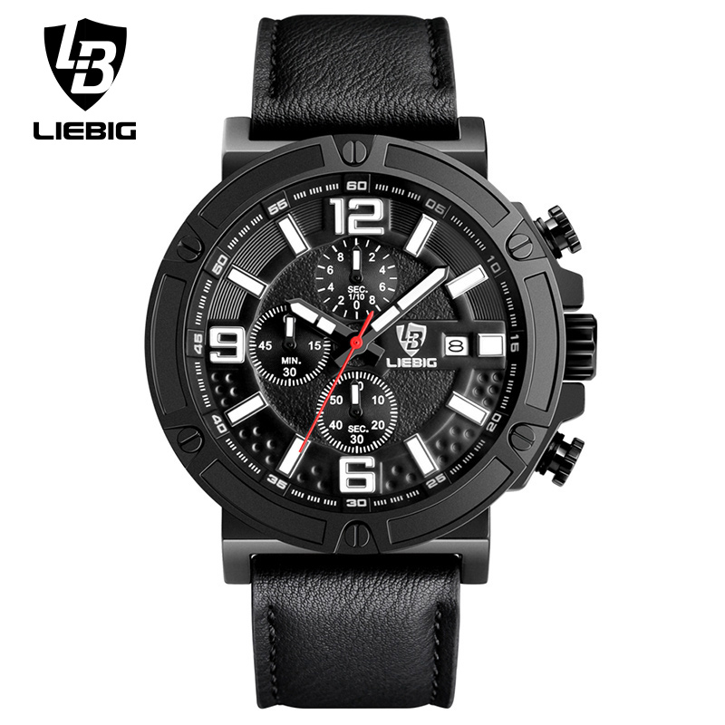 LIEBIG Men Luxury Quartz Wristwatches Calendar Leather Waterproof Fashion Sport Watches Commander Relogio Masculino ZHG161013 men quartz watches military fashion men business casual quartz wristwatches 50m waterproof watch relogio masculino liebig 1018