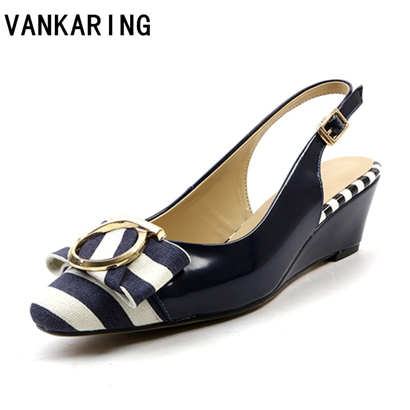 VANKARING summer beach casual shoes women gladiator sandals wedge high heels buckle dress sandals sexy lady leather sandals blue stylesowner 2018 summer beach women sandals lace high heel shoes see through gladiator women sandals sexy casual sandals shoes