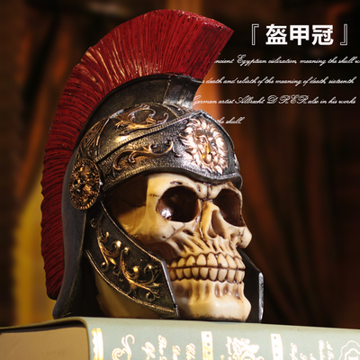 Skull Bar Cafe Museum ornaments Spartan warrior armor Home Furnishing retro jewelry crafts house sculpture statue decoration|Statues & Sculptures| |  - title=
