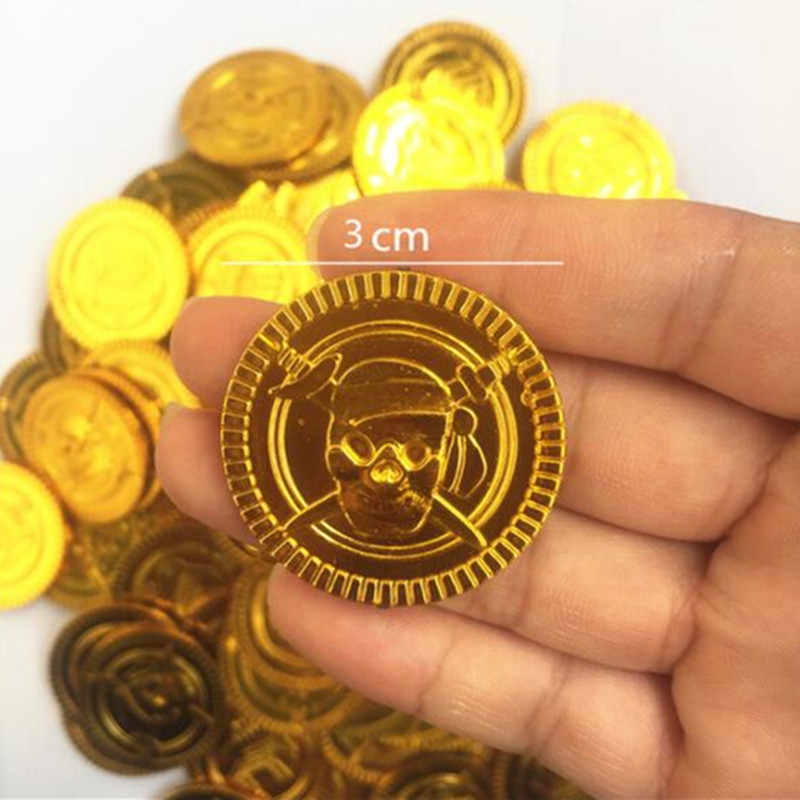 50/100pcs New Poker Casino Chips Bitcoin Model Bitcoin Gold Plating Plastic Pirate Gold Coins Party Supplies 5Z