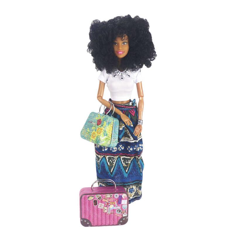 Moda de metal mala tote boneca jogo para barbie impressão bagagem para blythe boneca 1/6 bjd sd fr boneca acessórios