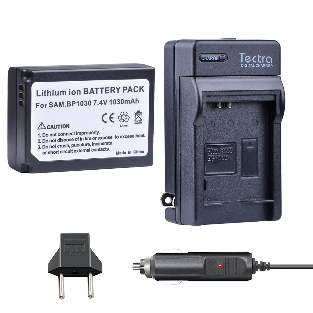 Tectra 1pcs BP-1030 BP 1030 BP1030 <font><b>Battery</b></font> + Car Charger for <font><b>Samsung</b></font> NX200 NX210 NX300 NX500 NX1000 <font><b>NX1100</b></font> NX-300M <font><b>Battery</b></font> image