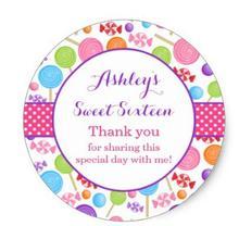 1.5 дюйма мило конфеты сладкий 16 День рождения пользу Классический круглый Стикеры