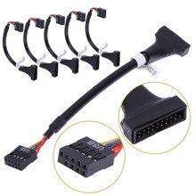 Voor CD ROM Floppy Drive Panel Adapter Usb 3.0 20Pin Male Naar USB2.0 9 Pin Vrouwelijke Flexibele Kabel Computer Moederbord adapter