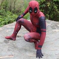 Quality Deadpool Cosplay Costume Man Marvel Deadpool Costumes Adult Wade Wilson Spandex Lycra Nylon zentai bodysuit [in stock]