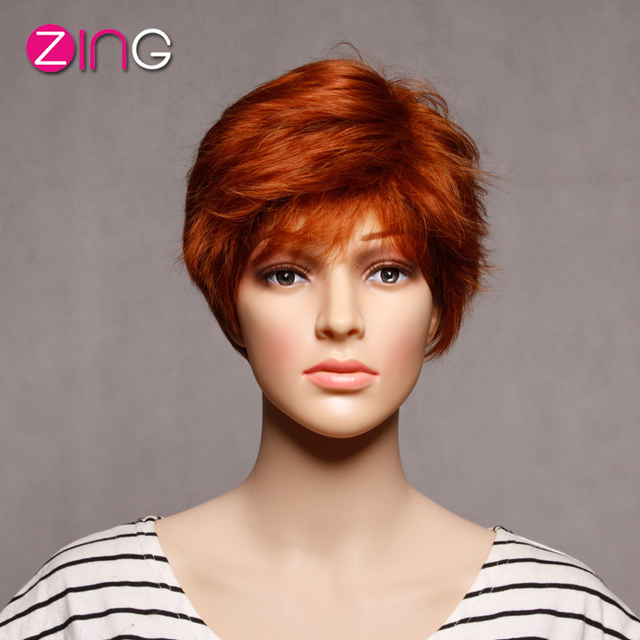 China Cheap Wigs Light Red Color Synthetic Wigs For Women Perruque Synthetic Women Adjustable Short Wigs Pelucas Pelo Cosplay