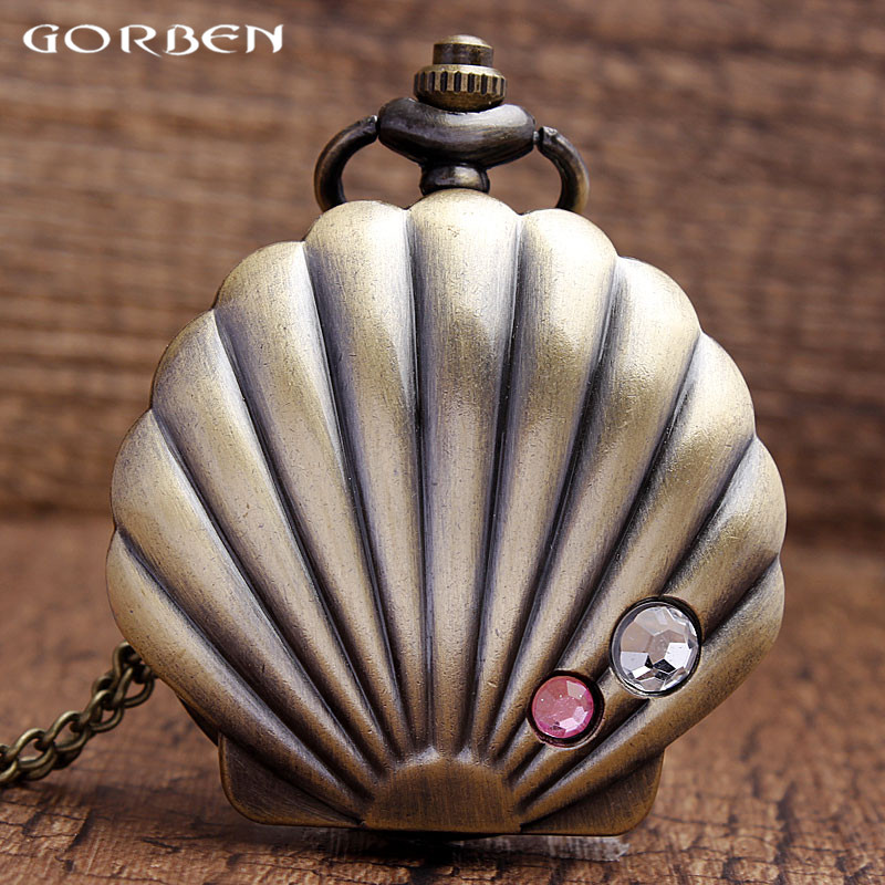 2019 Delicate Shell Design Quartz Pocket Watch Jewelry Quartz Watch Graceful Gifts For Girls Watch Crystal Analog With Chain