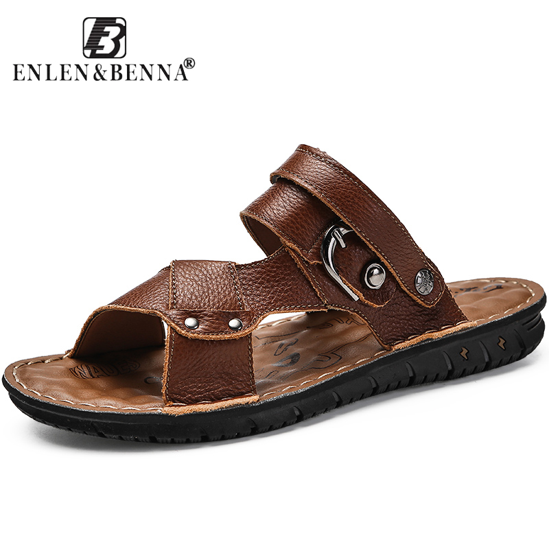 2018 Top Quality Sandal Men Summer Slippers Male Genuine Leather Sandals Men Outdoor Beach Shoes men slippers genuine leather crocodile designer new 2018 brown blue beach holiday shoes flat slipper for men casual daily sandal