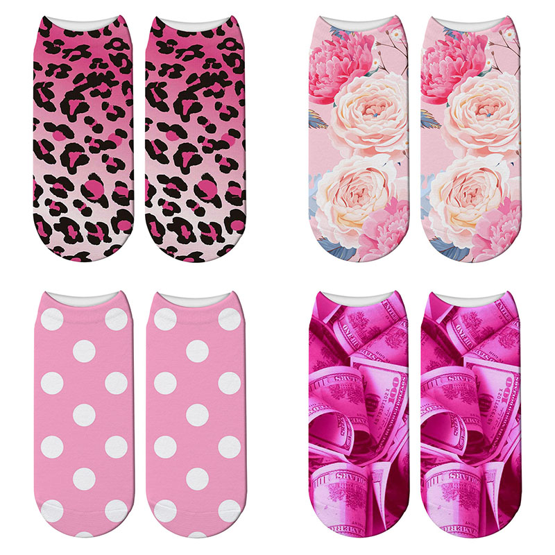 New 3D Printed Funny Polka Dot Pink Socks Leopard Blush Pink Womens Socks Peonies And Roses Low Cut Ankle Short Spaort Socks