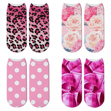New 3D Printed Funny Polka Dot Pink Socks Leopard Blush Womens Peonies and Roses Low Cut Ankle Short Spaort