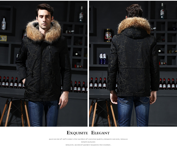 11  2018 new winter men's jacket high quality fur collar coats windproof warm jackets man casual coat clothing