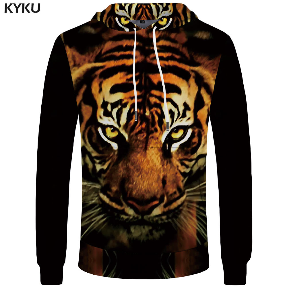 KYKU Brand Tiger Hoodies Men Funny Hoddie Animal Big Size Pocket Mens Clothing Sweatshirt 3d Hoodies Hood Hip Hop Casual