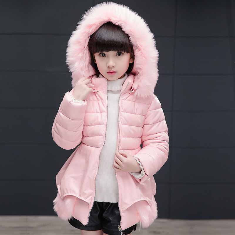 2017 New Autumn Winter Hooded Girls Parka Cotton Padded Fashion Jacket Faux Leather Fur Decoration Girls Clothing 3 Colors