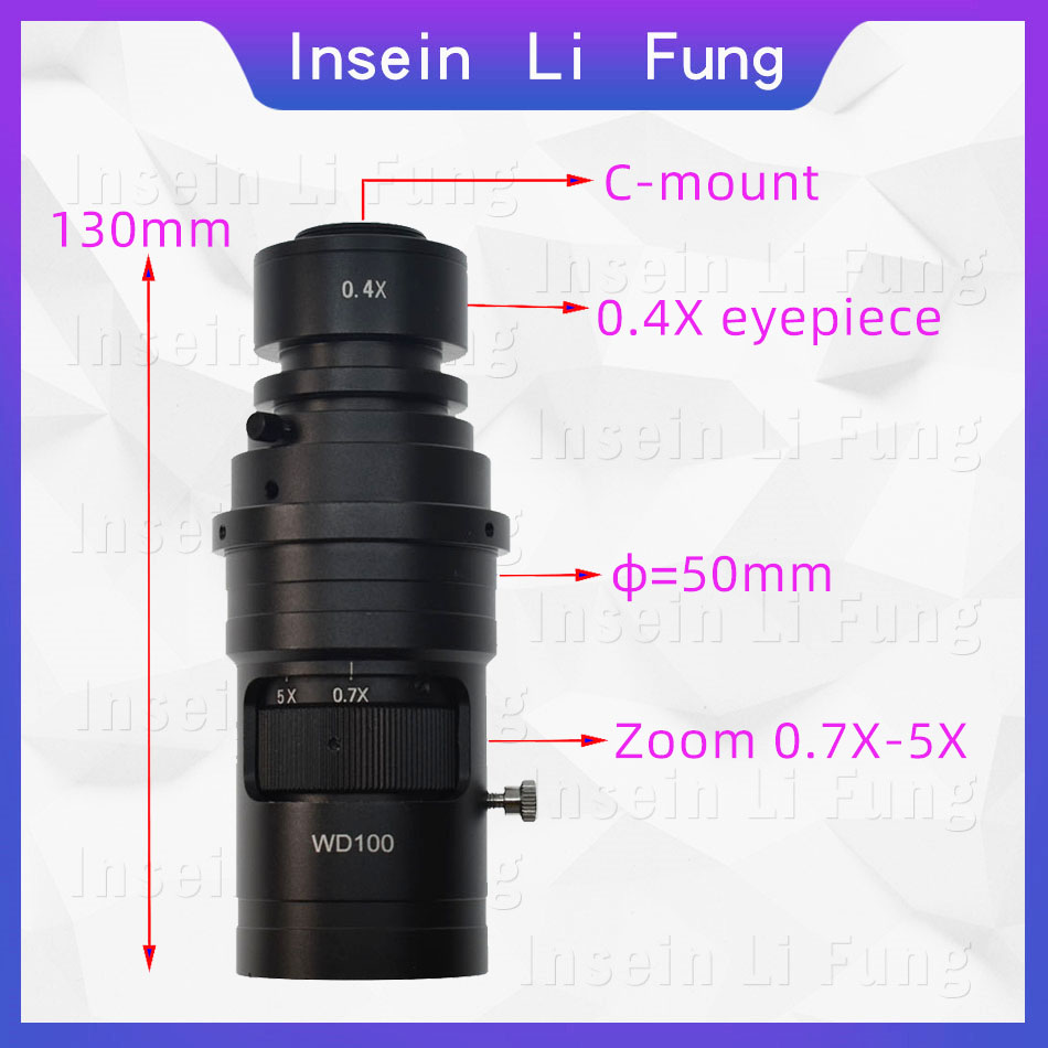 10X 200X Adjustable Magnification 25mm Zoom C mount Lens 0.7X~5X For Industry Video Microscope Camera Working Distance 100 150mm-in Microscopes from Tools    1
