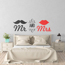 Couple Bedroom Romantic Wall Sticker Mr and Mrs Home Decoration Vinyl Art Removable Poster Mural Beauty DecorW167