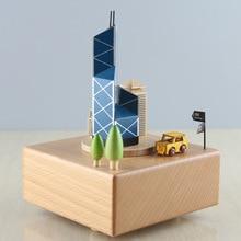 XXXG- Creative Bank of China Tower wood crafts music box gift birthday gift box wholesale crafts