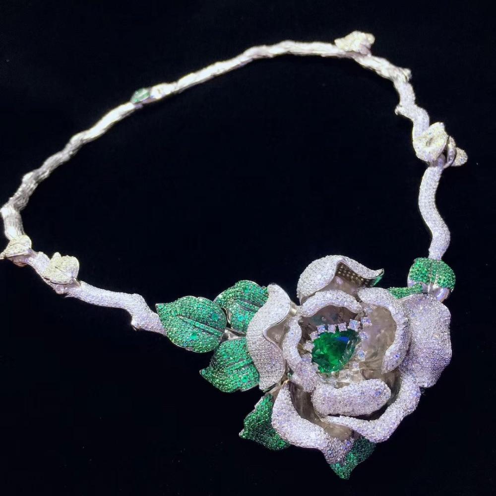 Top qualité collier de fleurs couples 925 en argent sterling avec zircon cubique collier de mariée bijoux de mode grand collier de fleurs
